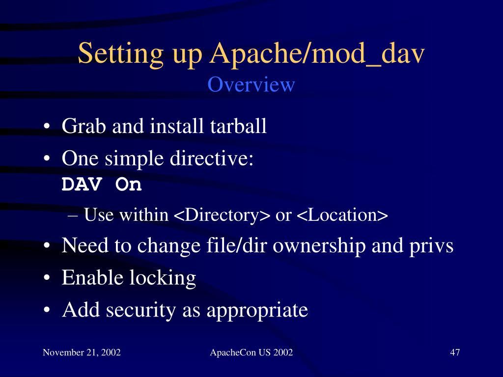 Setting up Apache/mod_dav