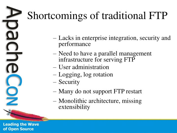 Shortcomings of traditional ftp