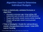 algorithm used to determine individual budgets