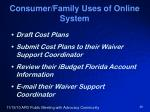 consumer family uses of online system