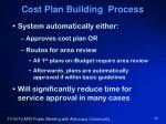 cost plan building process