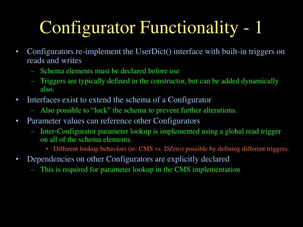 Configurator Functionality - 1