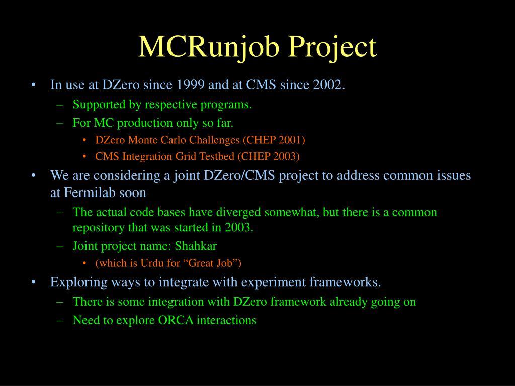 MCRunjob Project