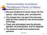 communication inventions the balance points of history