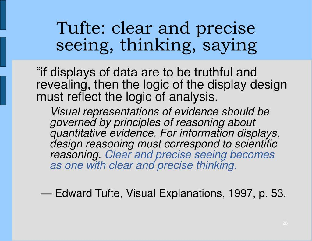 Tufte: clear and precise