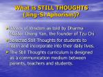what is still thoughts jing si aphorism