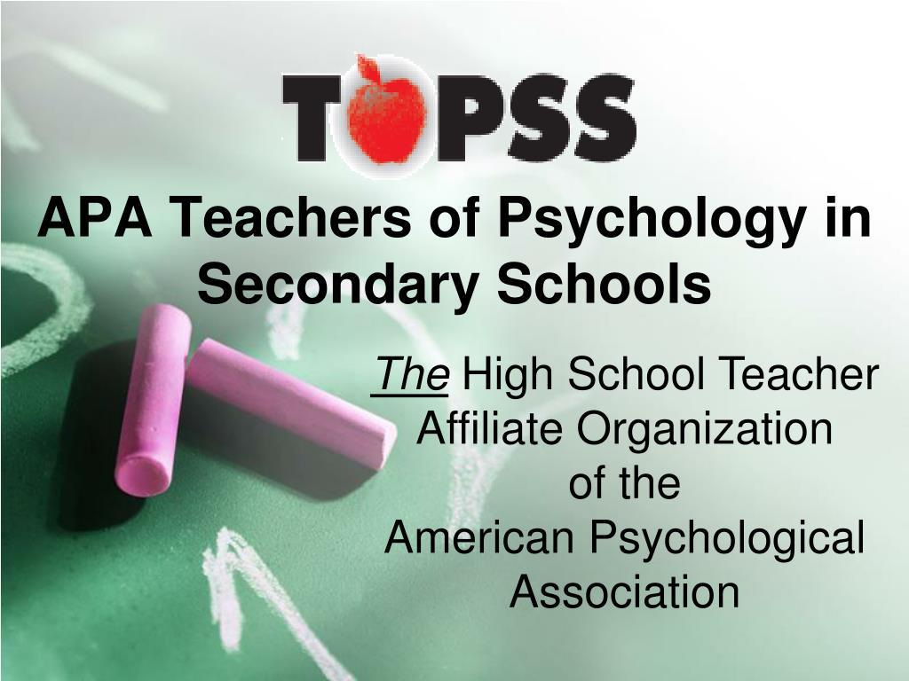 apa teachers of psychology in secondary schools l.