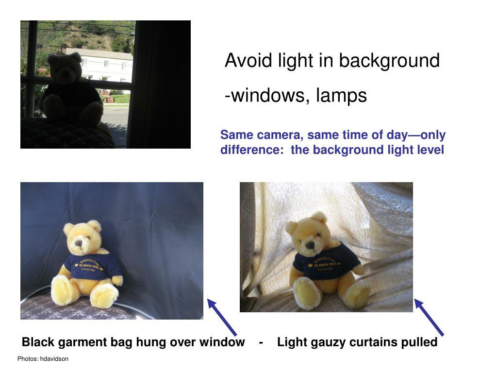 Avoid light in background