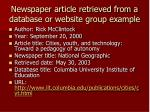 newspaper article retrieved from a database or website group example
