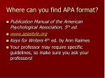where can you find apa format
