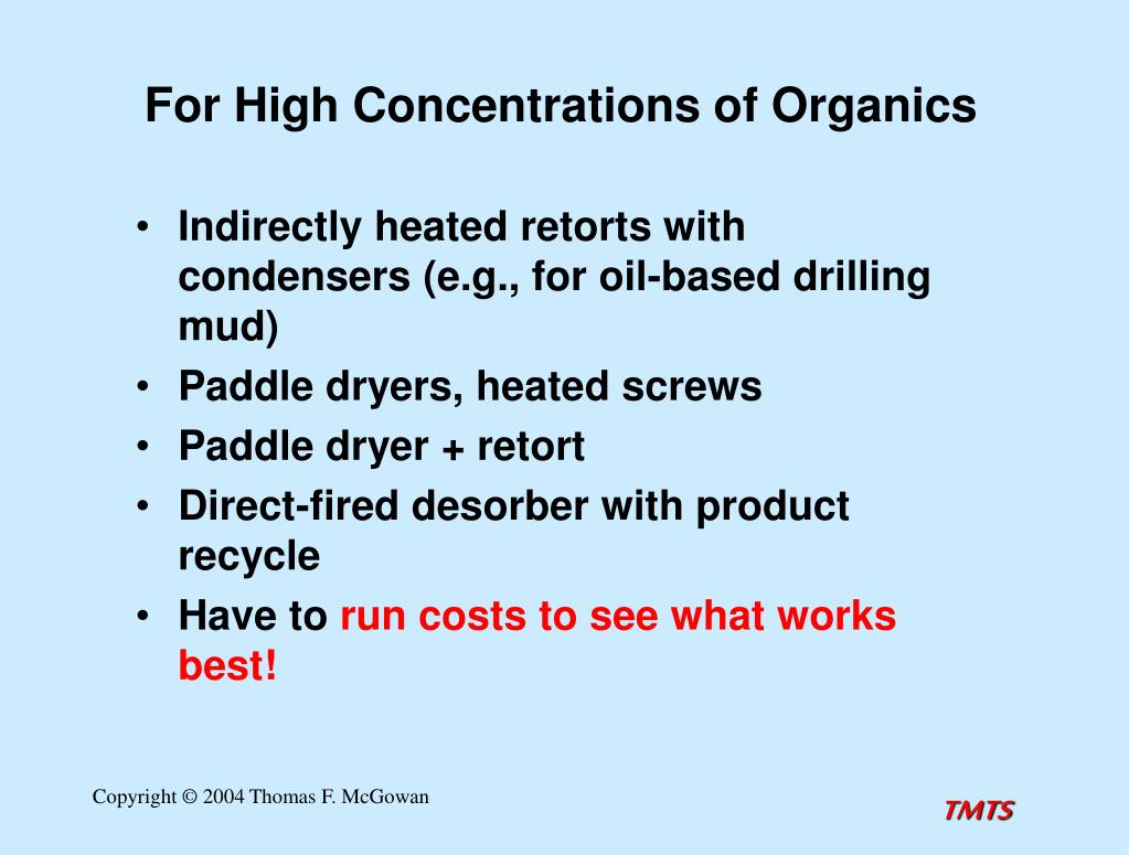 For High Concentrations of Organics