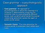 case grammar a psycholinguistic approach