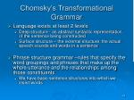 chomsky s transformational grammar