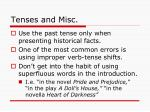 tenses and misc