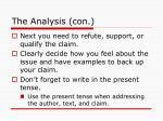 the analysis con