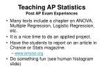 teaching ap statistics post ap exam experiences
