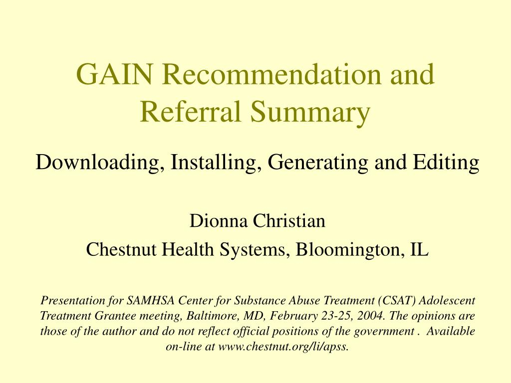 gain recommendation and referral summary l.