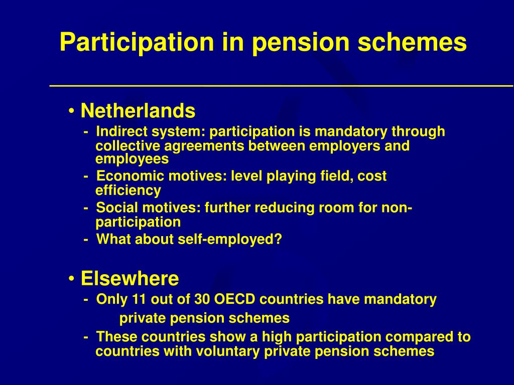 Participation in pension schemes