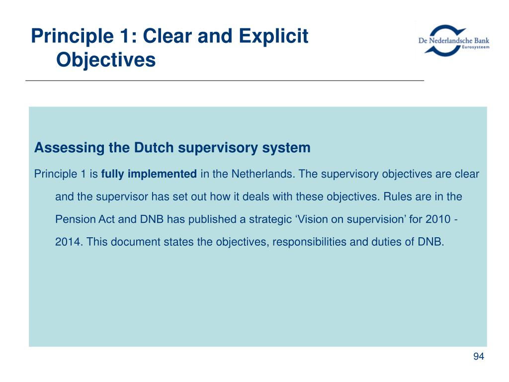 Principle 1: Clear and Explicit Objectives