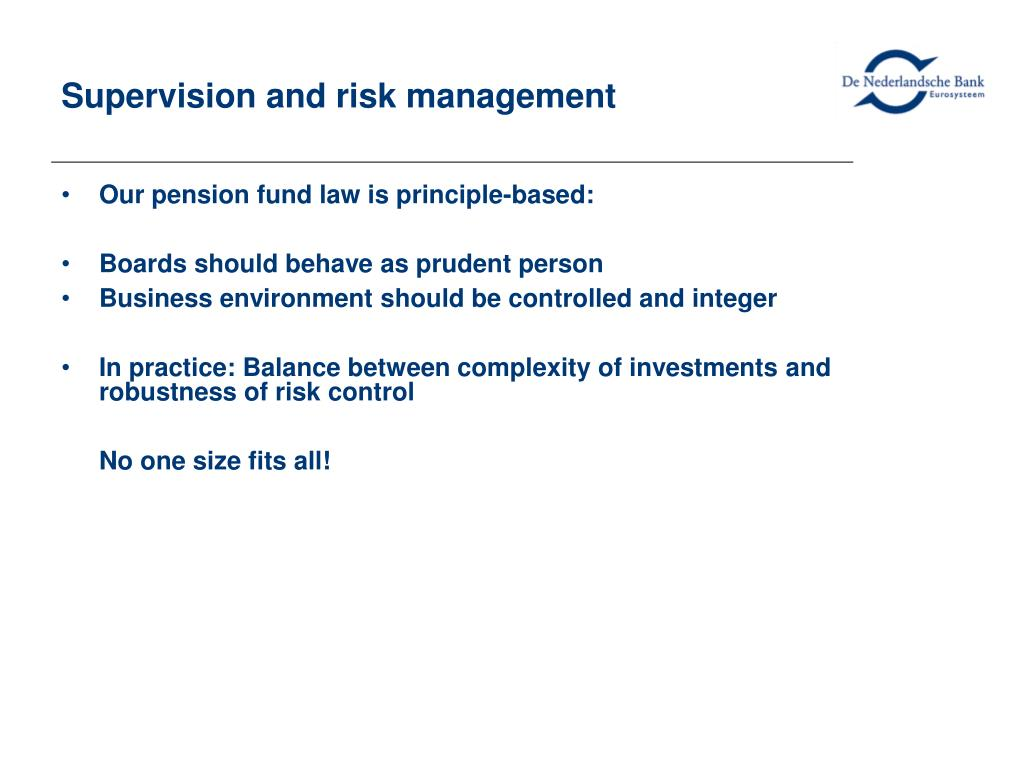 Supervision and risk management
