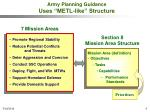 army planning guidance uses metl like structure