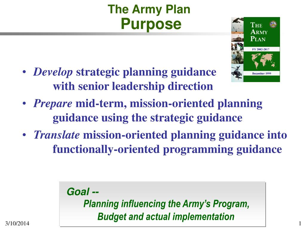 the army plan purpose l.