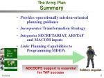 the army plan summary