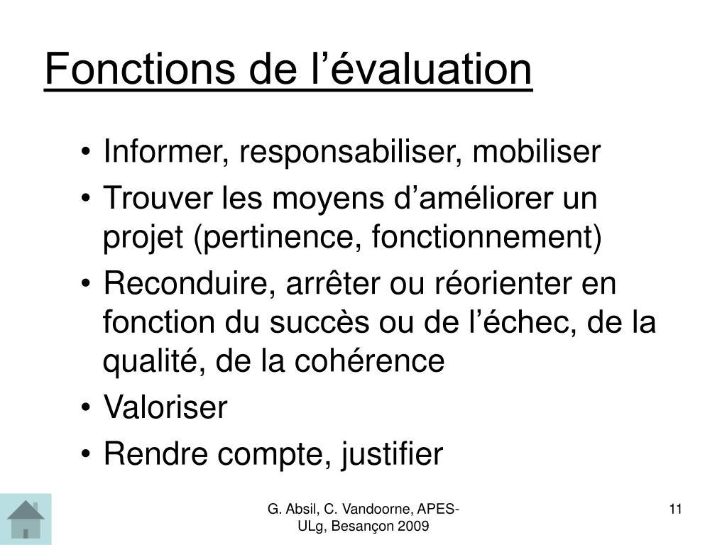 Fonctions de l'évaluation
