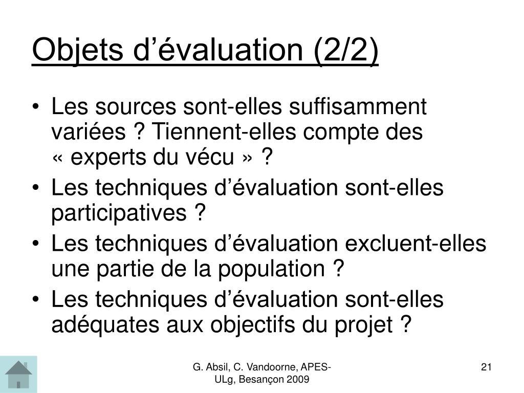 Objets d'évaluation (2/2)