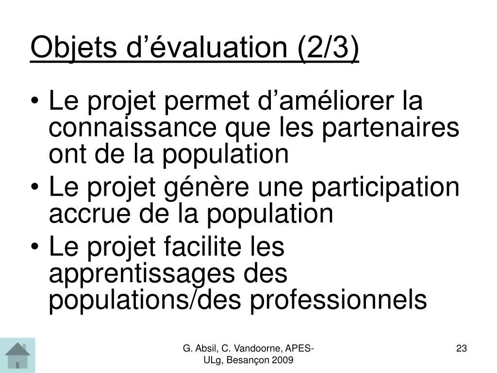 Objets d'évaluation (2/3)