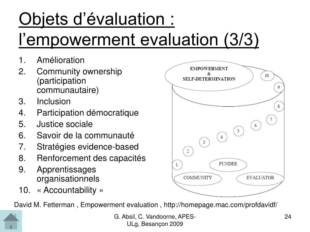Objets d'évaluation :  l'empowerment evaluation (3/3)