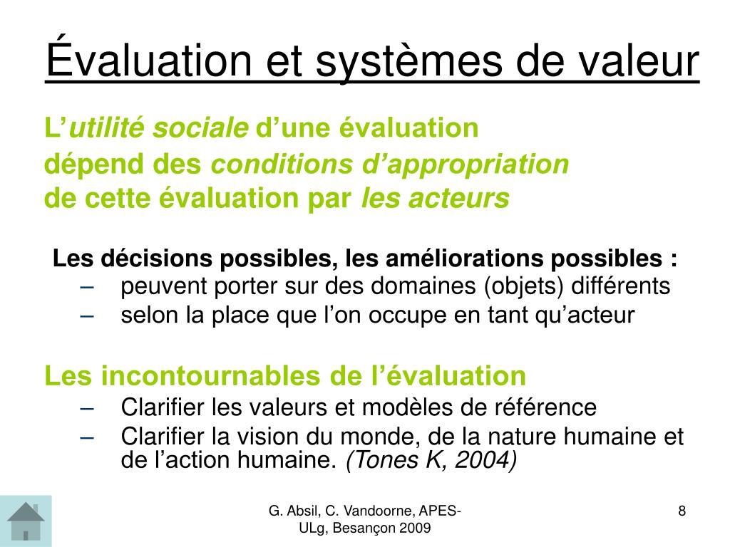 Évaluation et systèmes de valeur