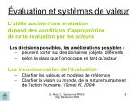 valuation et syst mes de valeur