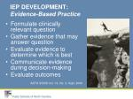 iep development evidence based practice