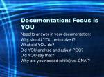 documentation focus is you30