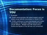 documentation focus is you70