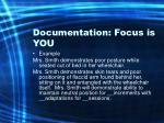 documentation focus is you71