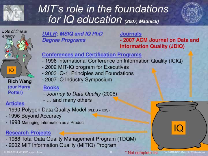Mit s role in the foundations for iq education 2007 madnick