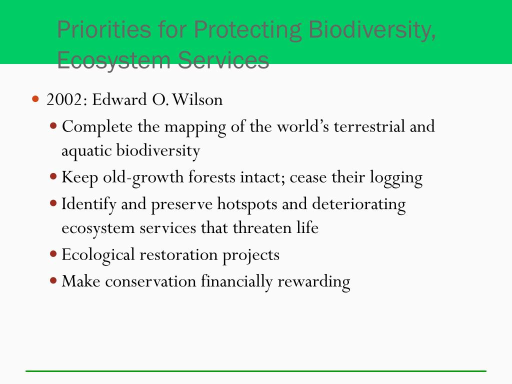 Priorities for Protecting Biodiversity, Ecosystem Services