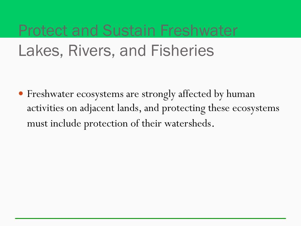 Protect and Sustain Freshwater Lakes, Rivers, and Fisheries