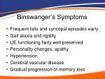 binswanger s symptoms