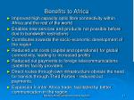 benefits to africa