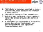 how does psuta see the use of indicators
