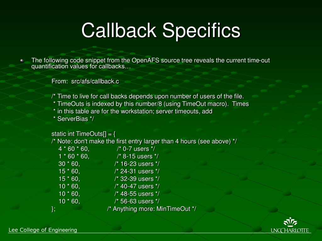 Callback Specifics