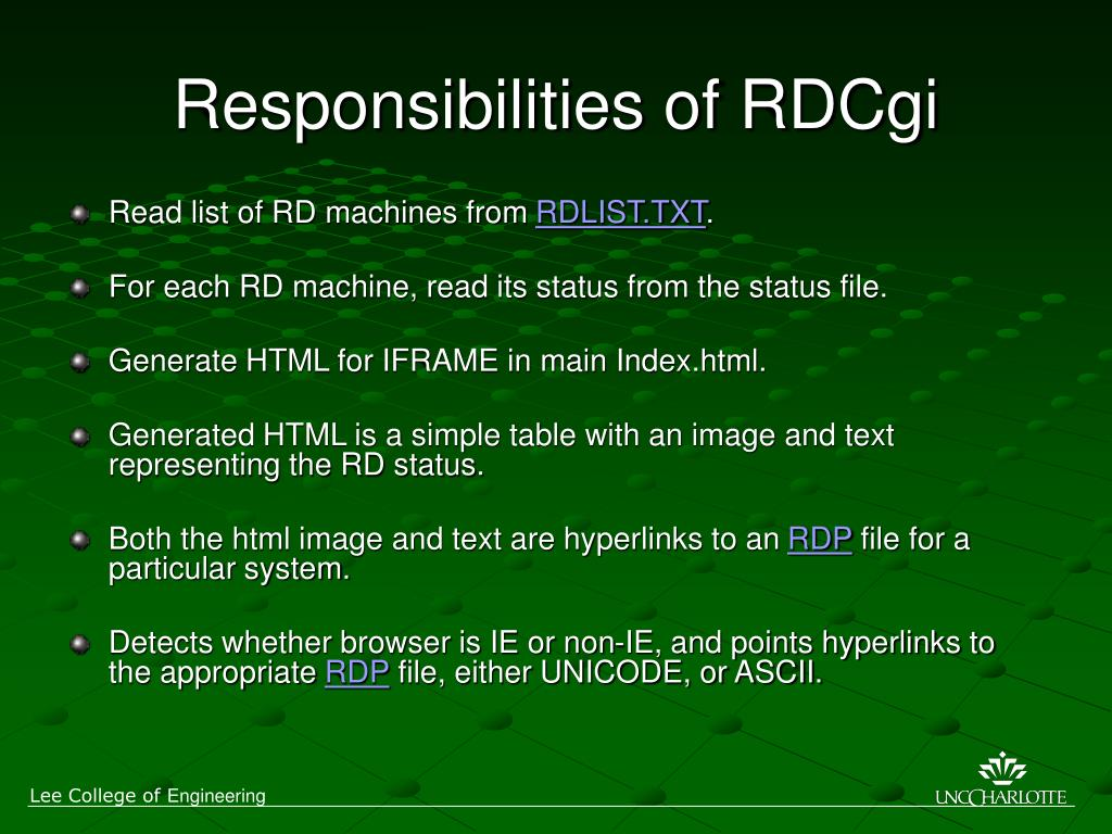 Responsibilities of RDCgi