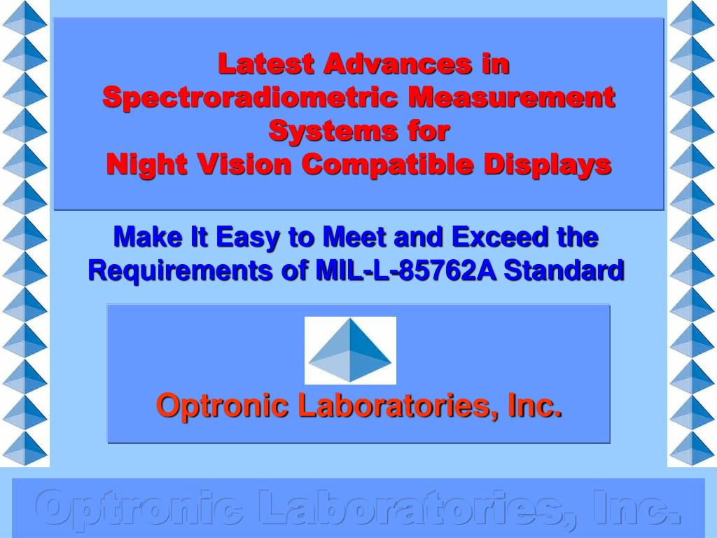 latest advances in spectroradiometric measurement systems for night vision compatible displays l.