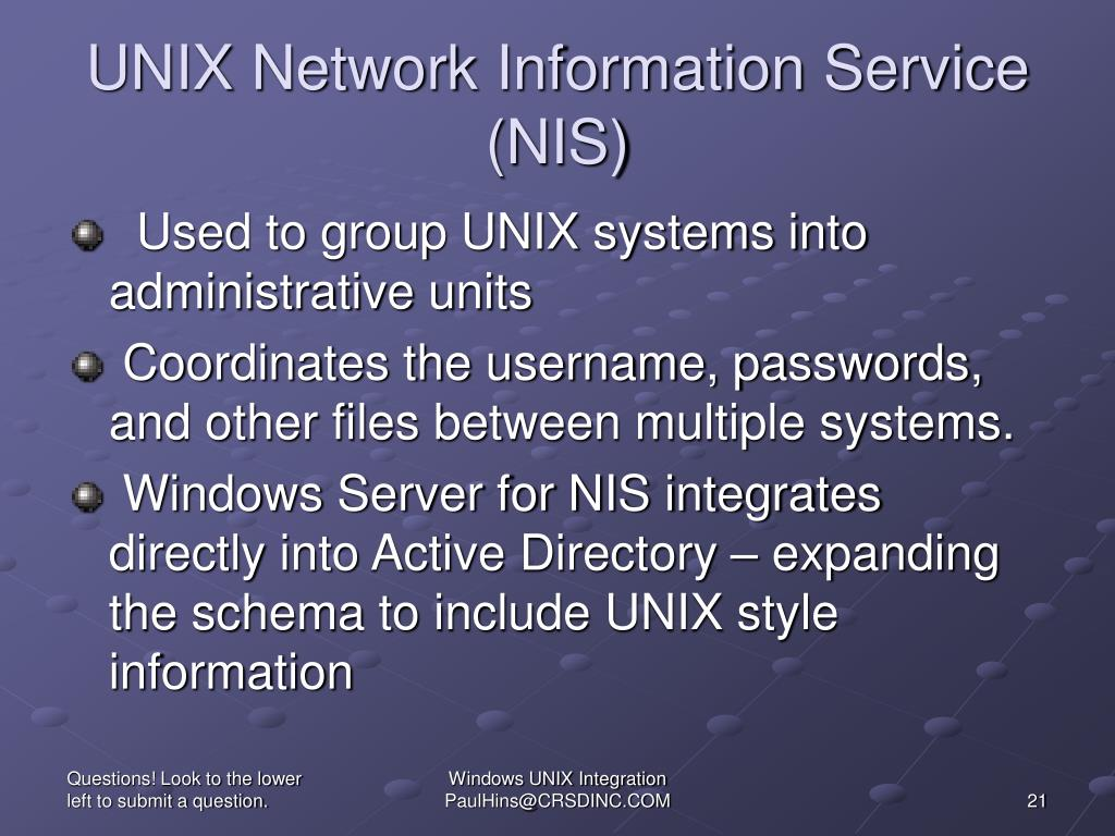 UNIX Network Information Service (NIS)
