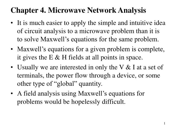 chapter 4 microwave network analysis n.