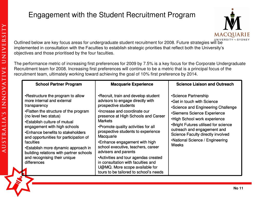 Engagement with the Student Recruitment Program