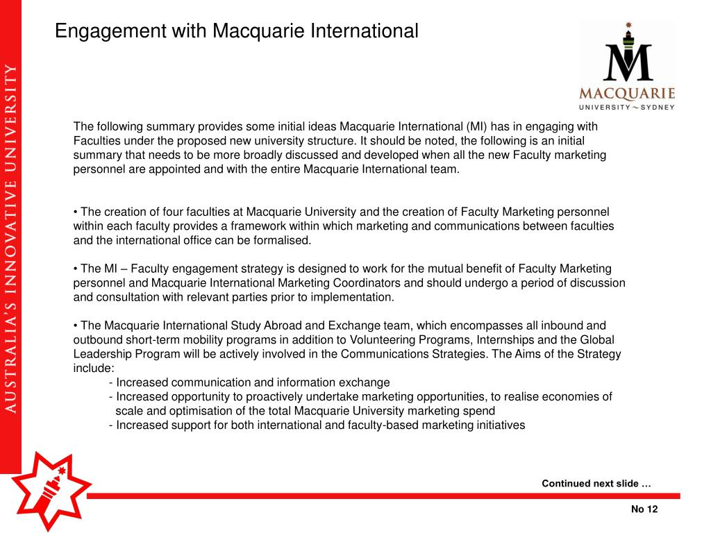 Engagement with Macquarie International